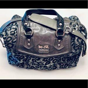 Authentic Coach Metallic Grey Leopard Handbag